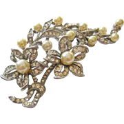 Vintage Sterling Rhinestone and Simulated Pearl Floral Spray Brooch