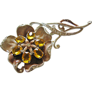 Large Pot Metal Enamel and Amber Glass Statement Brooch-Pin