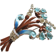 Vintage Enamel and Crystal Floral Brooch-Pin