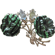 Vintage Green and Black Art Glass Floral Brooch-Pin
