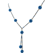 Vintage Art Deco Blue Art Glass-Enamel and Crystal Necklace