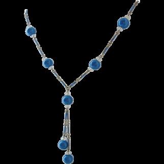 Vintage Art Deco Blue Art Glass-Enamel and Crystal Necklace