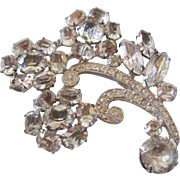 Vintage Large Clear Floral Rhinestone Joseph Wiesner of  Brooch Pin