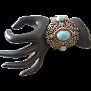 Vintage Large Ornate Art Glass and Silver tone Cuff Bracelet
