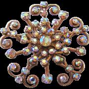 Vintage Aurora Rhinestone Snowflake Brooch-Pin