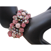 Vintage High End Pink Art Glass and Rhinestone Bracelet