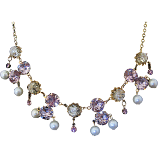 Vintage Purple Foil Backed Rhinestone /Crackle Art Glass and Simulated Pearl Necklace