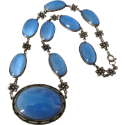 Vintage Art Deco Sterling Blue Satin Glass Necklace