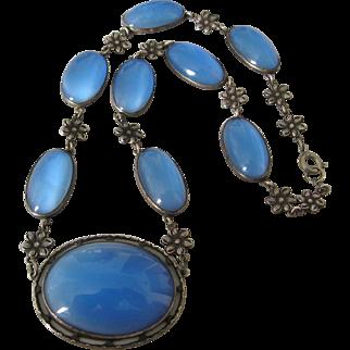 Vintage Art Deco Sterling Blue Satin Glass Necklace