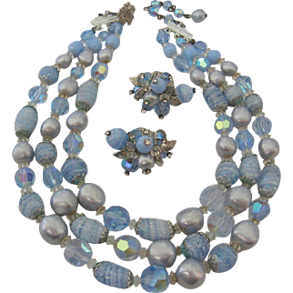 Vintage Vendome Crystal-Simulated Pearl-Art Glass Sugar Bead Necklace and Earrings Set