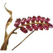 Vintage Gold tone and Pink Rhinestone Floral Pin-Brooch