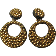 Vintage Large Composition Gold tone Dot Hoop Earrings
