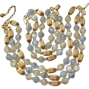 Vintage Napier Art Glass Necklace and Bracelet Set