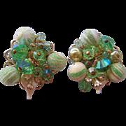 Vintage Alice Caviness Art Glass-Sugar Bead Earrings