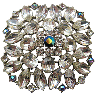 Vintage Large Clear Rhinestone Brooch Pin