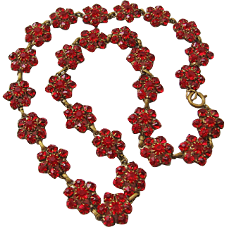 Vintage Dark Red Open Back Faceted Crystal and Brass Floral Necklace