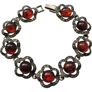 Vintage Silver tone Bracelet with Root Beer Colored Acrylic Cabs