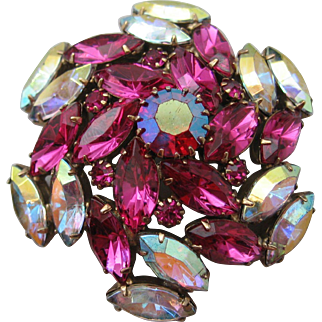 Vintage Hot Pink and Aurora Rhinestone Brooch Pin