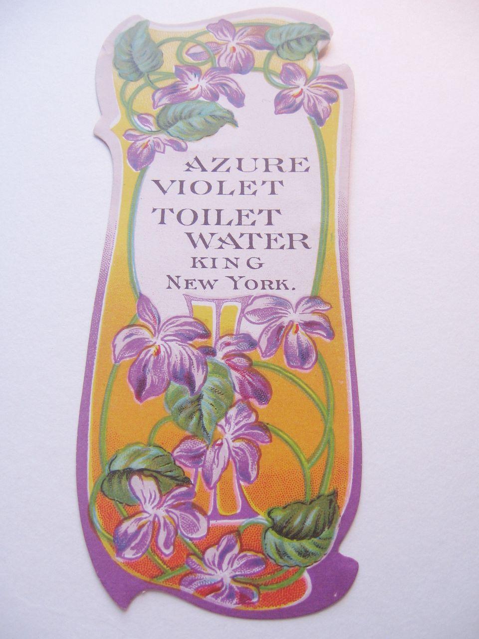 Vintage Paper Art Nouveau  Perfume Bottle Label Azure Violet Toilet Water-King NYC
