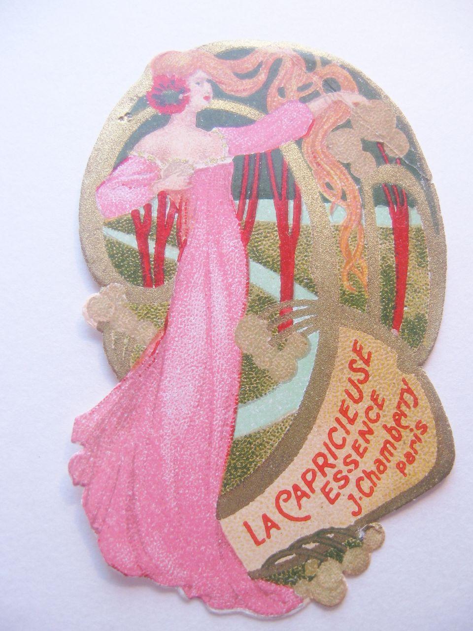 Vintage Original Perfume Label Art Nouveau Lady in the Trees-La Capricieuse Essence J Chamberry-Paris