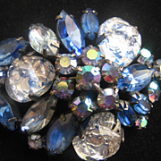 Montana Blue and Silver and Black Art Glass Pin-Brooch