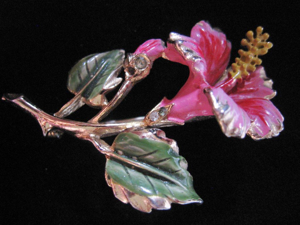 Coro Pink Enamel and Rhinestone Hibiscus Flower Pin-Brooch
