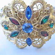 Beautiful Czechoslovakian Goldtone Lace and Multi Color Stone Bracelet