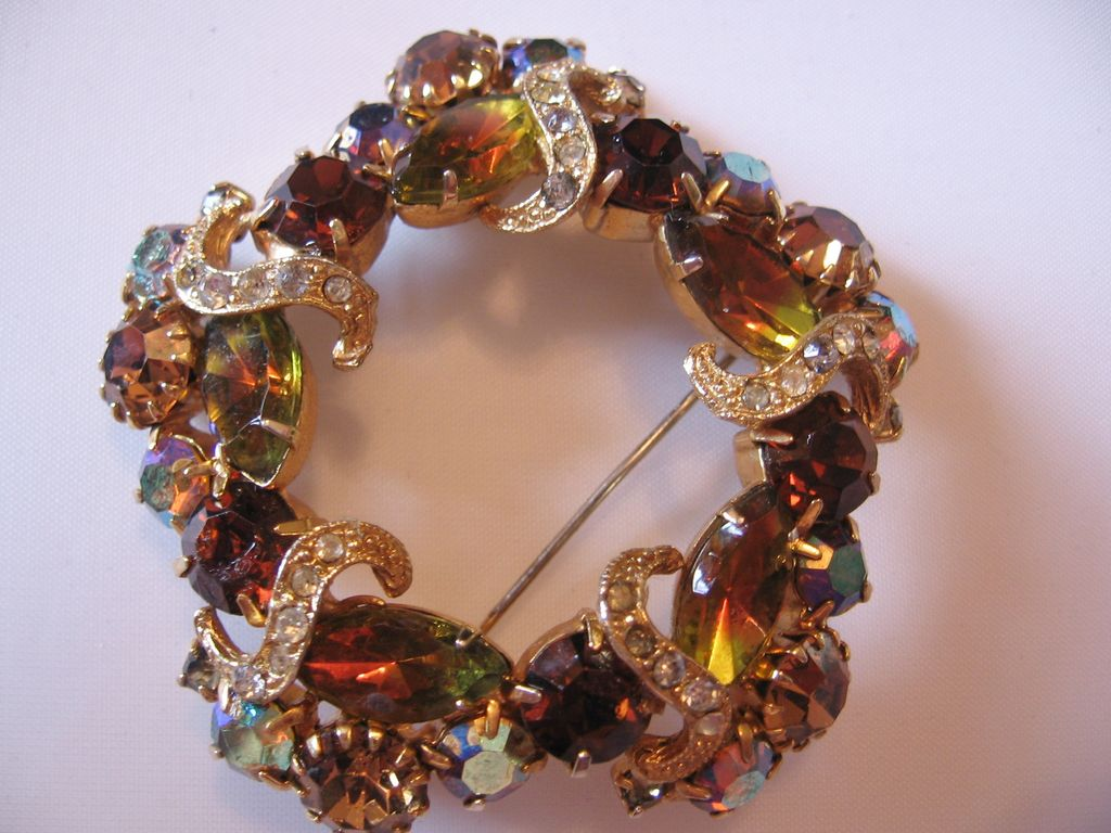 Vintage Amber and Clear Ribbon  Icing Rhinestone Pin-Brooch