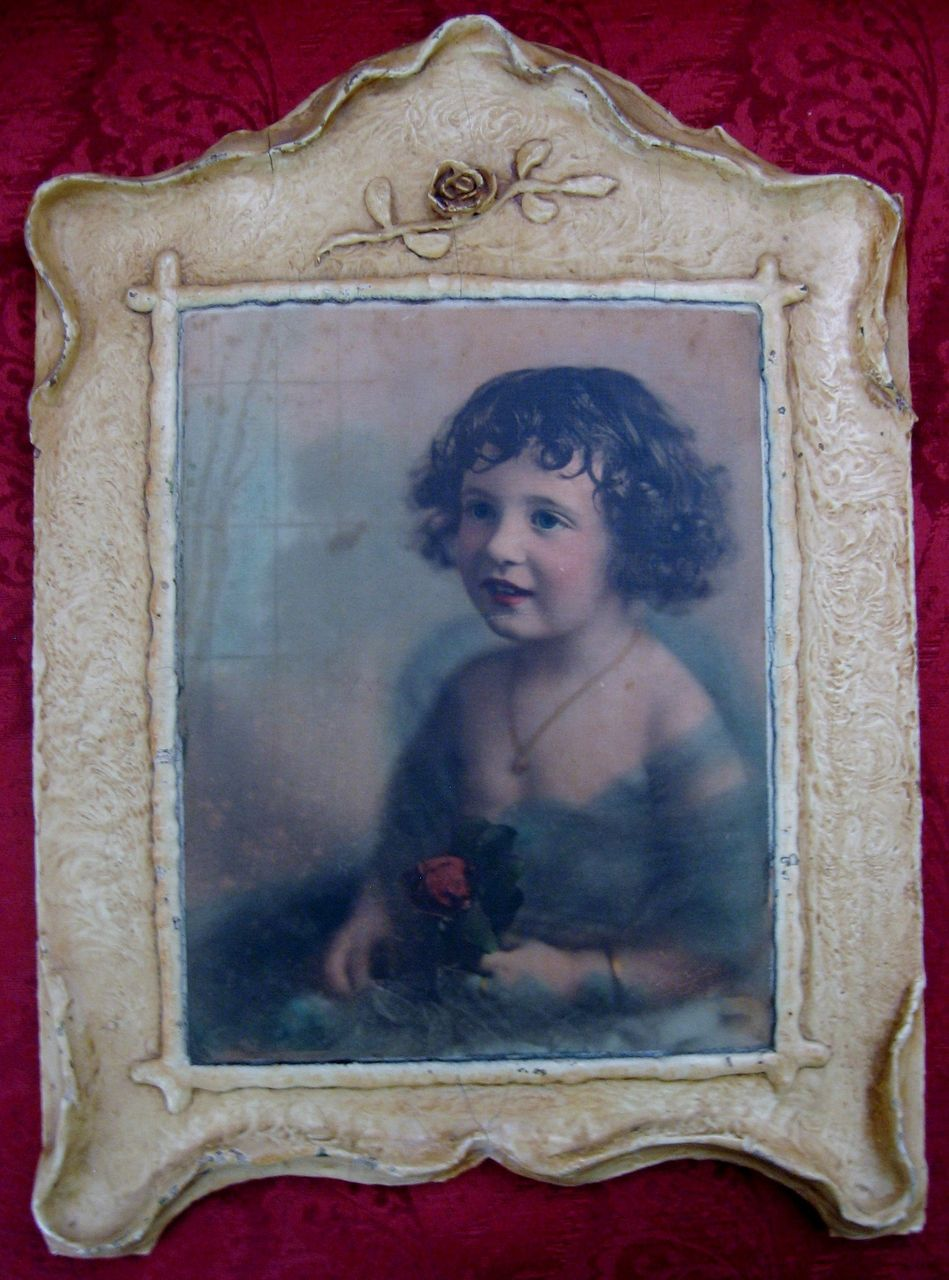 Vintage (1925) Photo of Little Girl with Rose in Gesso Frame