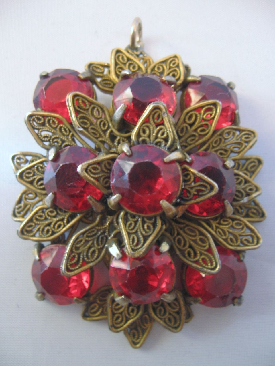 Czech Red Glass and Brass Pendant