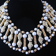 Vintage Egyptian Style Glass/Goldtone and Flocked Beaded  Bib Collar Necklace