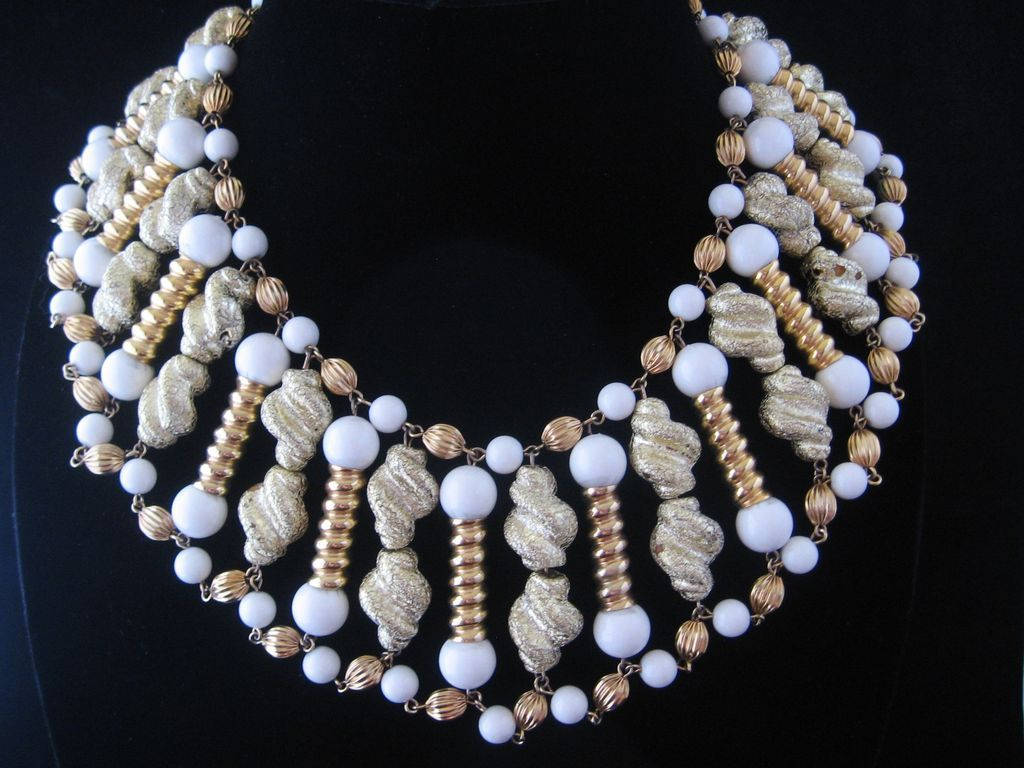 Vintage Egyptian Style Glass Goldtone And Flocked Beaded