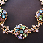 Barclay Multi Colored Pastel Circle Panel Rhinestone Bracelet