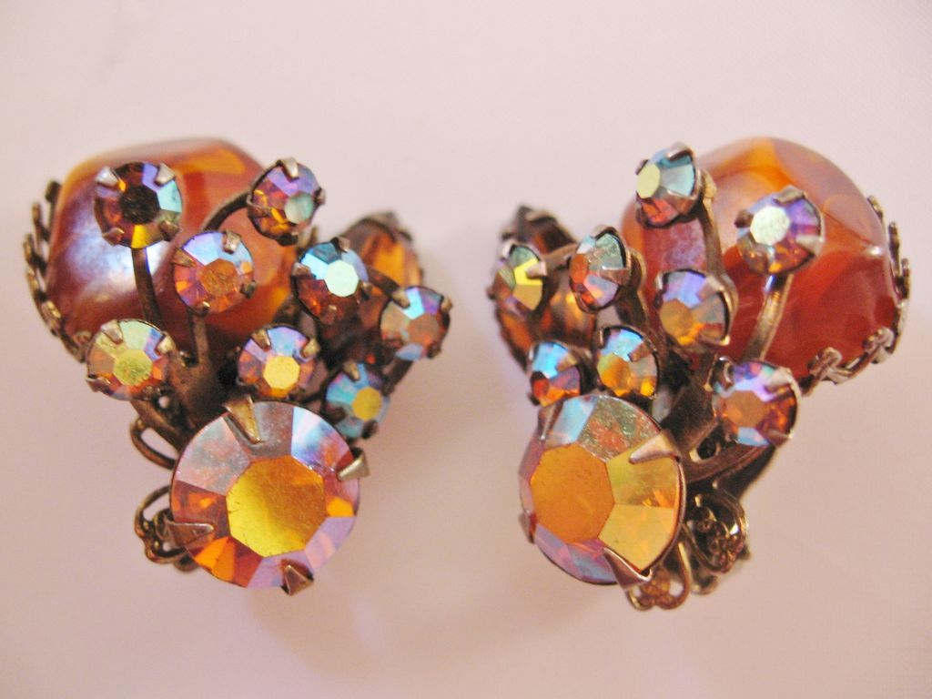Vintage Judy Lee Amber and Aurora Rhinestone Earrings