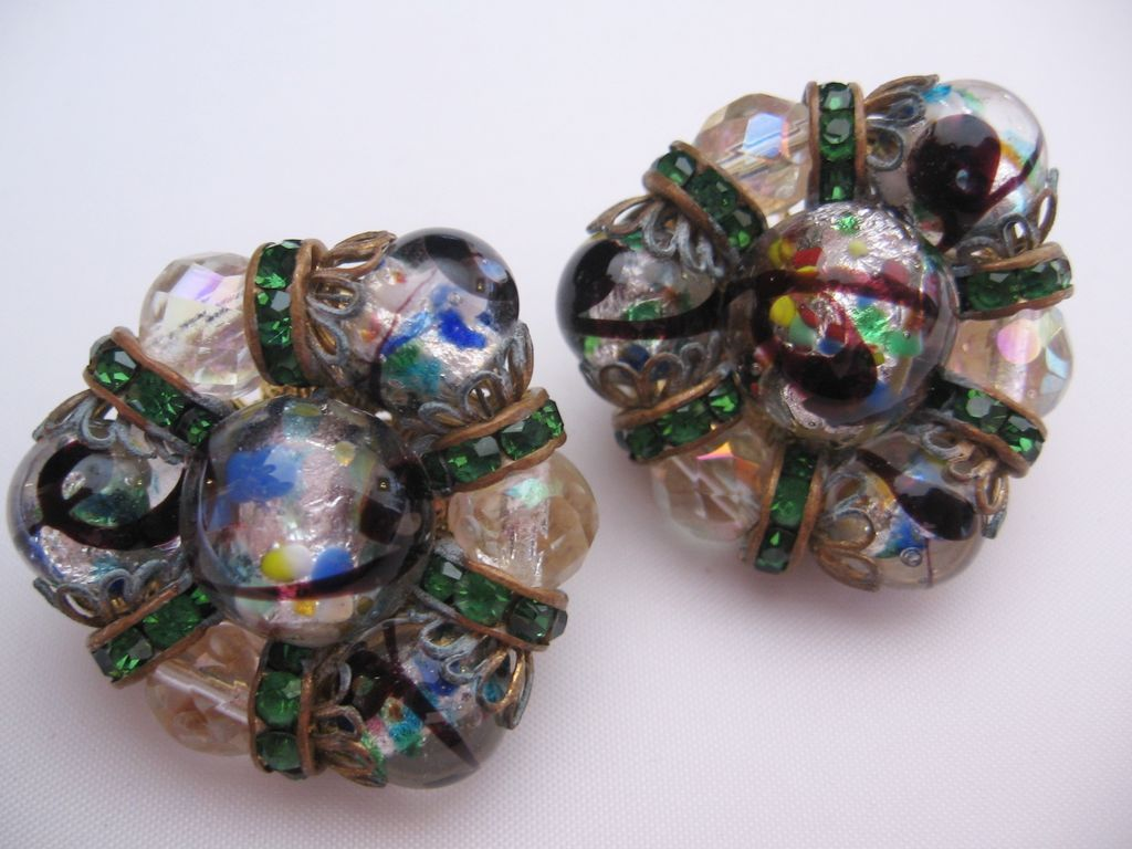 Vintage Hobe Art Glass and Rhinestone Earrings