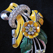 Vintage Large Coro Enamel and Rhinestone Floral Fur Clip