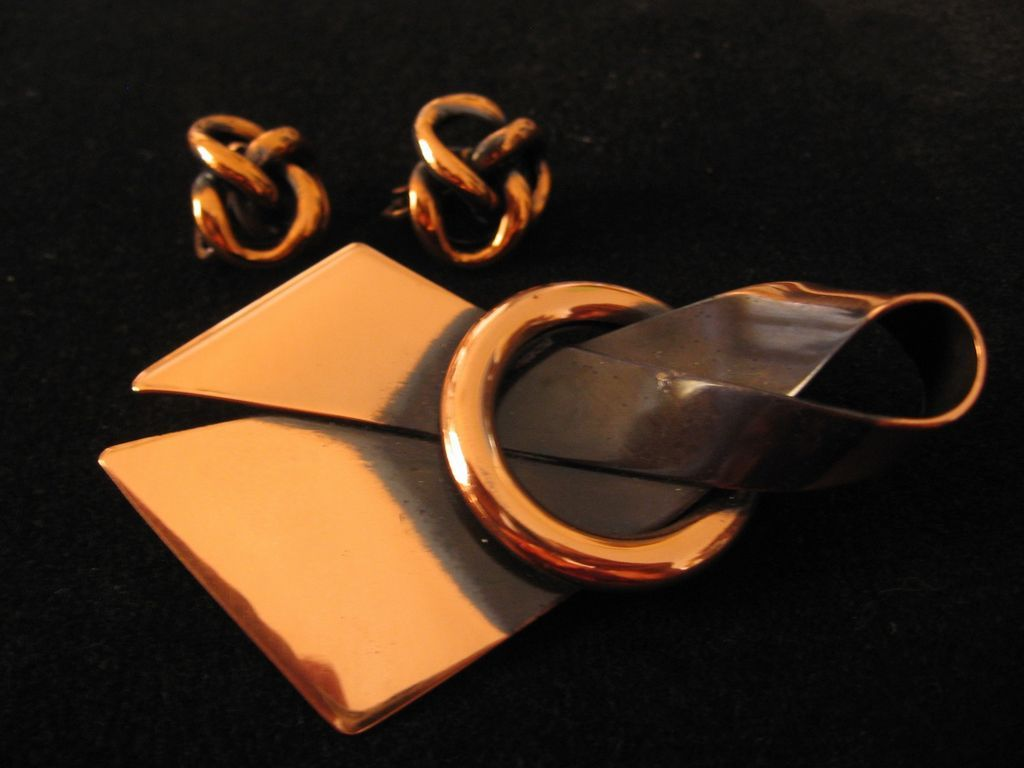 Vintage Copper Bow Pin-Brooch and Love Knot Earrings Set