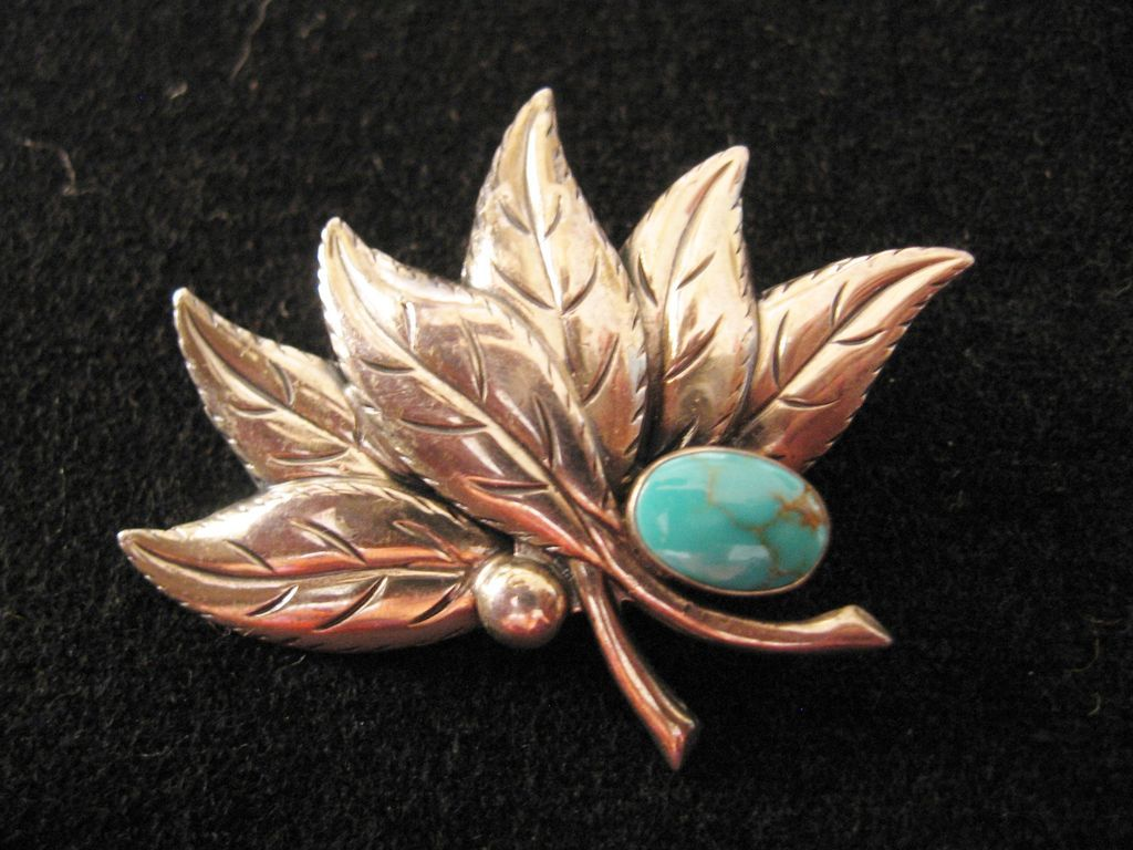Vintage Sterling Leaf And Faux Turquoise Pin Brooch From