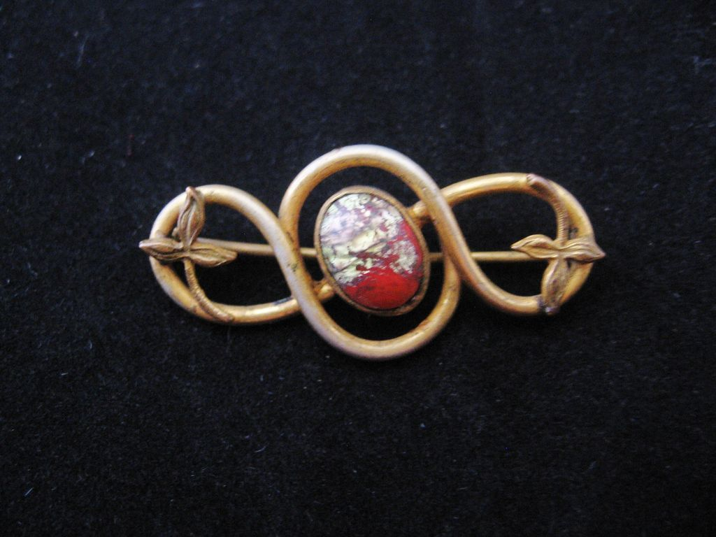 Vintage Art Nouveau Red End of the Day Glass and Brass Leaves Pin-Brooch