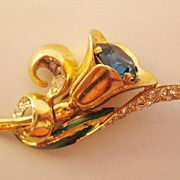 Vintage Coro Craft Sterling Tulip Floral Enamel and Rhinestone Fur Clip-