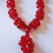 Vintage Cherry Red Cut Glass Bead Necklace