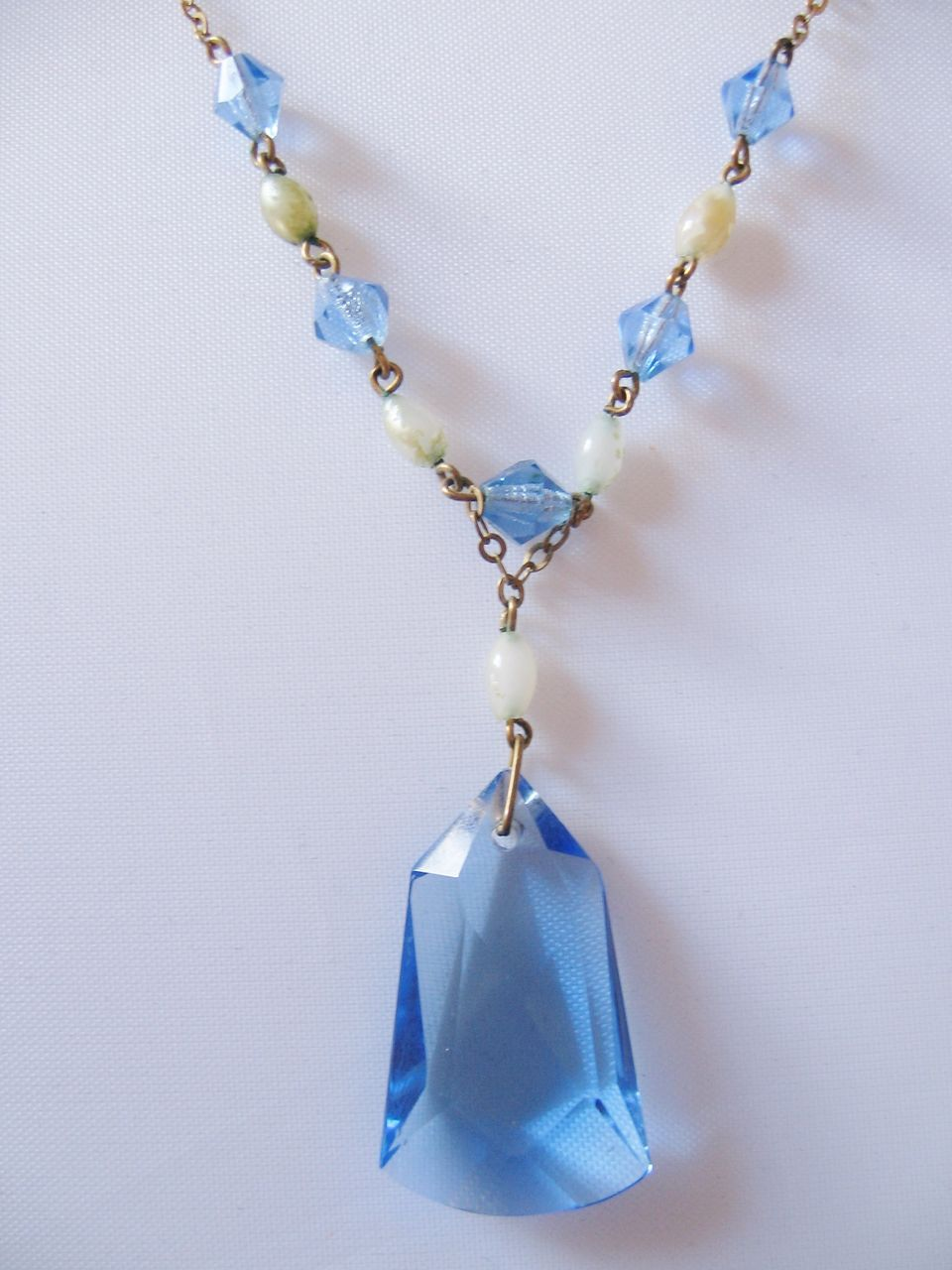 Deco Light Blue Faceted Crystal and Faux Pearl Drop Necklace