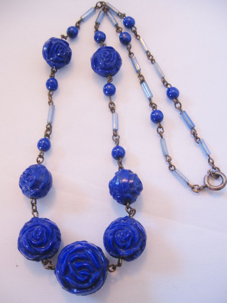 Vintage Art Deco Cobalt Blue Glass Rose Necklace From