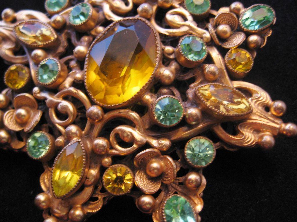 Vintage Czech Brass-Glass Star Pin-Brooch-Amber-Sea Green-Yellow
