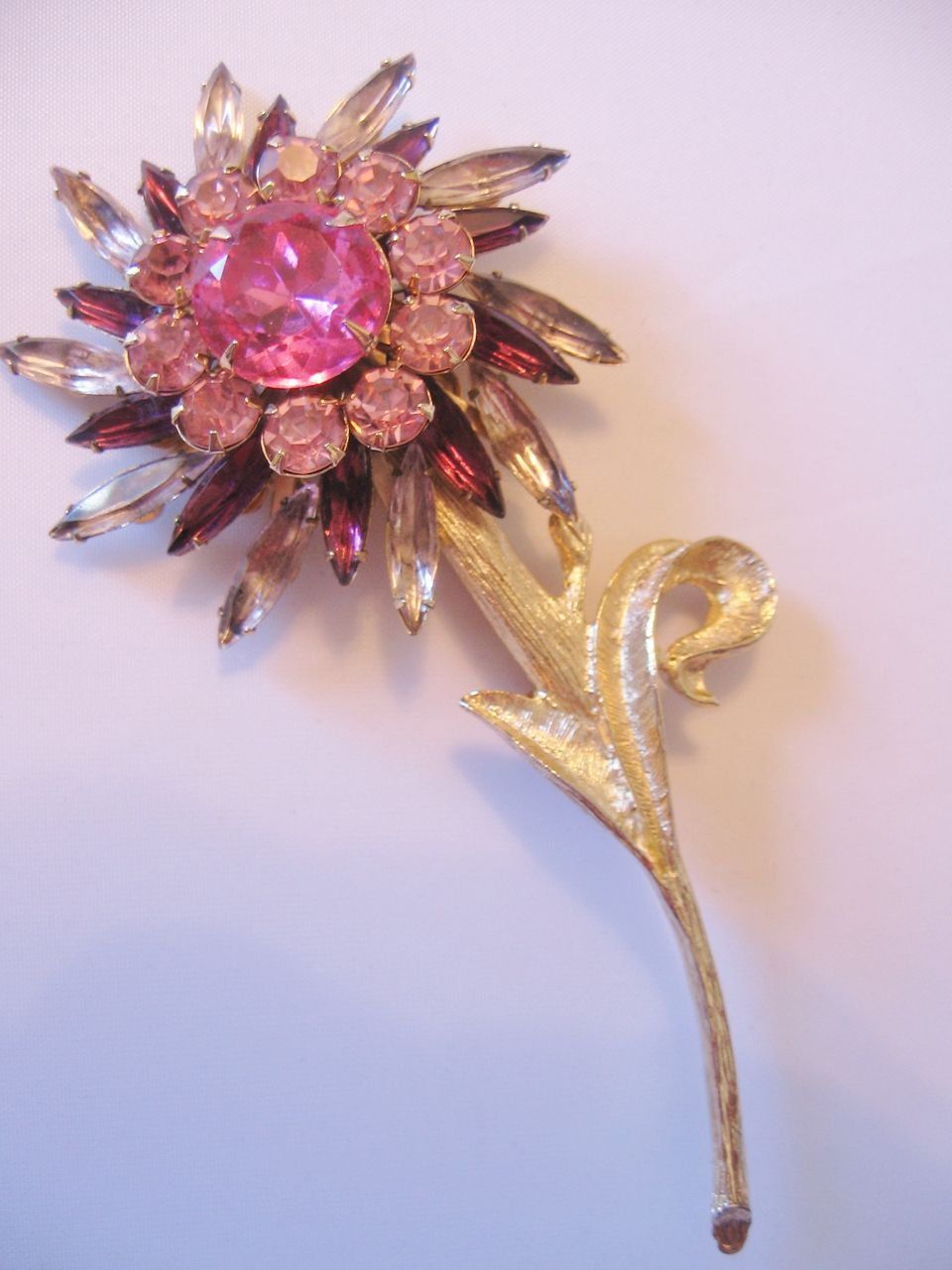 Judy Lee Large Rhinestone Flower Pin Brooch