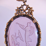 Goldette Intaglio Archer and Horn Player Figures Goldtone Necklace