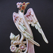 Vintage Early Plastic Painted Rhinestone Bird Pin-Brooch