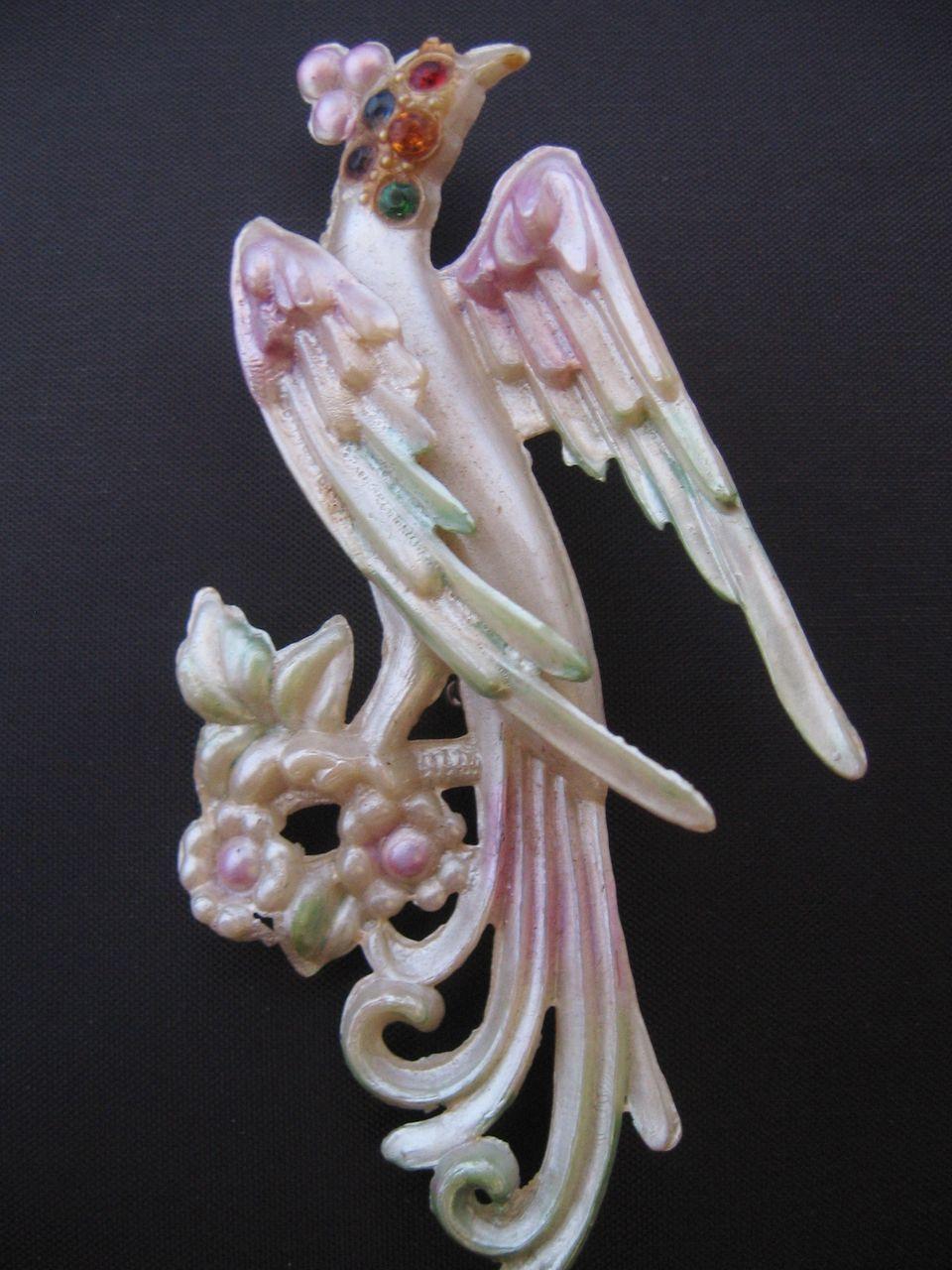 Vintage Early Plastic Painted Rhinestone Bird Pin-Brooch