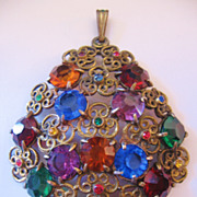 Vintage Czech Multi Rainbow Colored Floral Pendant