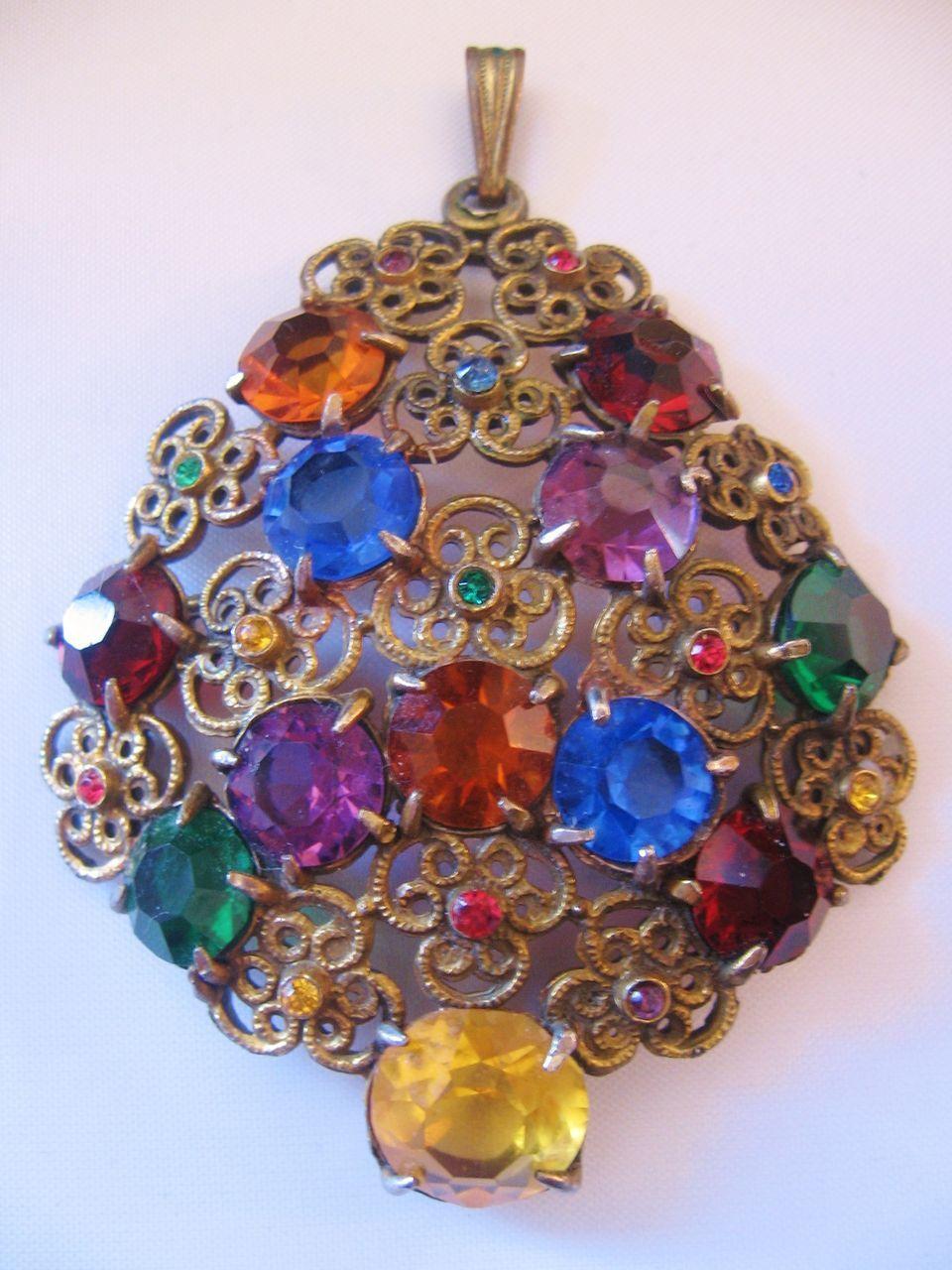 Vintage Czech Multi Rainbow Colored Floral Pendant